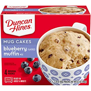 Duncan Hines Mug Cakes Blueberry Flavored Muffin Mix, 4 - 2.29 OZ Pouches