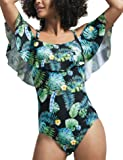 GRND Women One Piece Swimsuit Ruffled Flounce Bathing Suits Off Shoulder Floral Vintage Swimwear Tummy Control