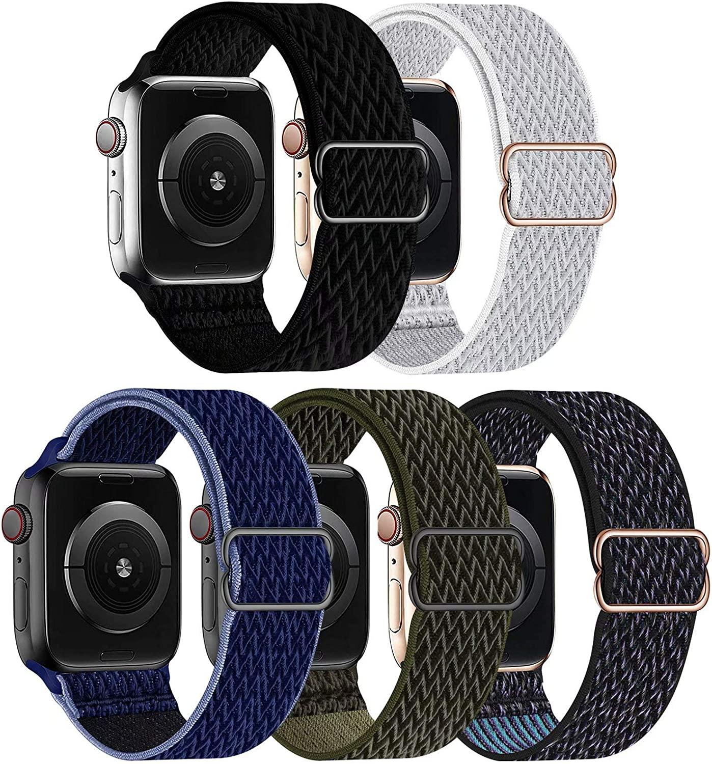 GBPOOT 5 Packs Nylon Stretch Band Compatible with Apple Watch Bands,Adjustable Soft Sport Breathable Loop for Iwatch Series 6/5/4/3/2/1/SE,Black/Seashell/Midnight Blue/Cargo Khaki/Hyper Grape,38/40mm