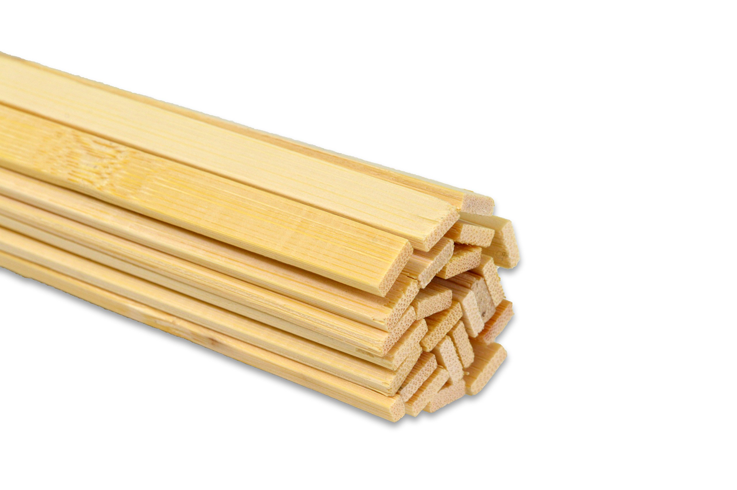 15.5'' Extra Long Wooden Craft Sticks. Flexible, Can be Made to Curve, Strong. Natural Bamboo. 48 Pieces. 3/8'' wide