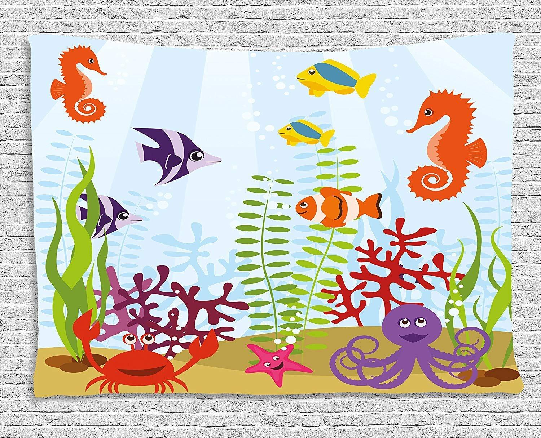 THndjsh Aquarium Tapestry, Friendly Sea Animals Tropical Aquatic Habitat Collection Seahorse Crab Octopus, Wall Hanging for Bedroom Living Room Dorm, 80 W X 60 L Inches, Multicolor