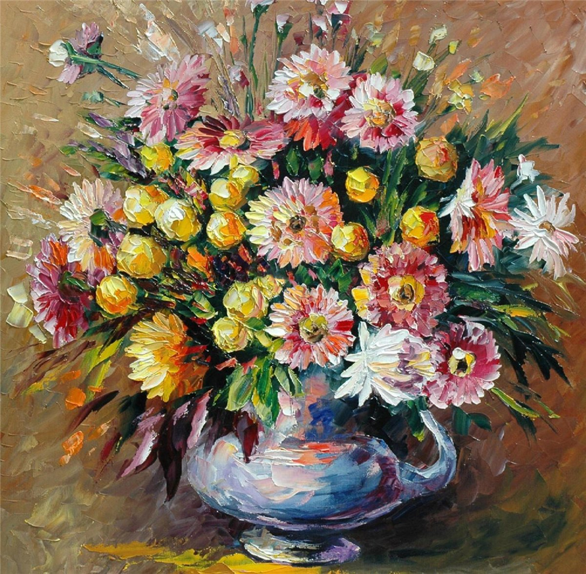 100% Hand Painted Oil Paintings Modern Abstract Paintings Reproductions Chrysanthemum Home Wall Decor (2020 Inch, Master 3)