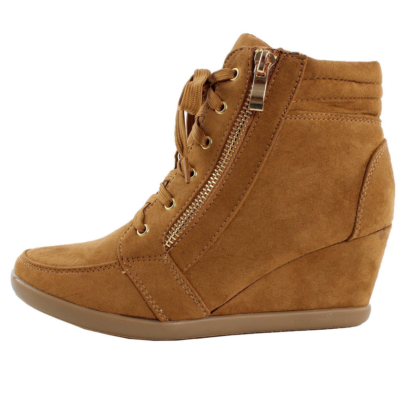 5baf146936f38 ShoBeautiful Women's Fashion Wedge Sneakers High Top Hidden Wedge Heel  Platform Lace Up Shoes Ankle Bootie
