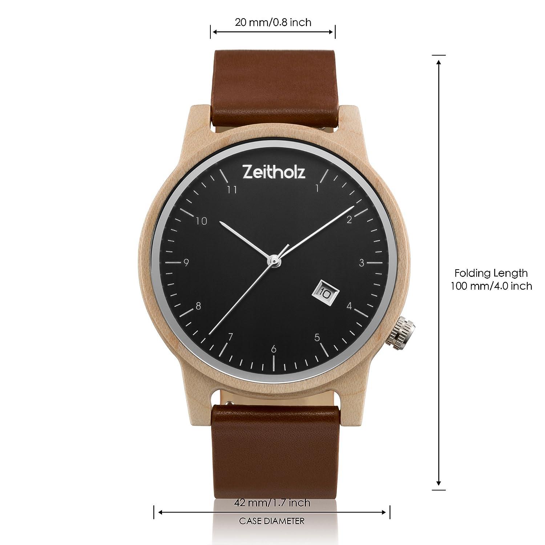 Reloj de madera ZEITHOLZ - Breitenbrunn - 100% de Madera de Arce y Correa de Cuero - Producto Natural - Hipoalergénico - Sostenible - Esfera Negra, ...