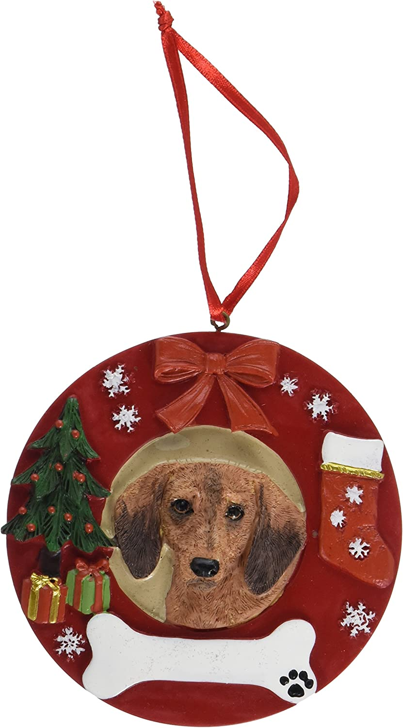 Puppy in Santa Boot Red Dachshund Personalized Christmas Dog Ornament
