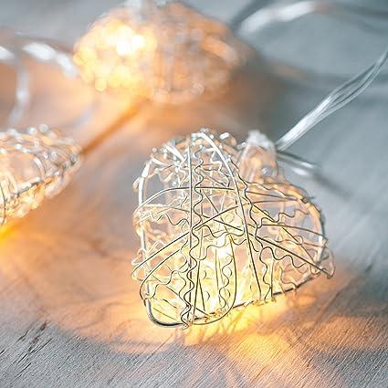 Guirnalda a pilas de 10 LEDs con corazones de malla plateada de Lights4fun
