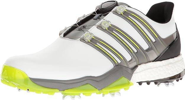 Adidas Powerband BOA Boost Golf Shoes,White/Iron Metallic/Solar Slime,8 M US