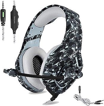 Auriculares para videojuegos PS4 ONIKUMA de camuflaje de 3,5 mm, auriculares para videojuegos estéreo con micrófono de cancelación de ruido para Xbox One S, PC, PS4, Smartphones, Ordenador portátil: Amazon.es: Electrónica
