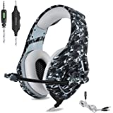Cuffie Gaming per PS4, ONIKUMA Headset Gaming con Microfono Cancellazione del rumore, Controllo del volume, Jack 3.5mm, per PC, PS4, XBOX ONE, IPAD - Grigio Camouflage
