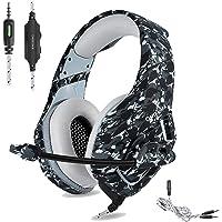 ONIKUMA Casque de jeu PS4 3.5 mm Stéréo Camouflage Jeu casque avec micro avec suppression de bruit pour Xbox One S PC PS4 smartphones ordinateur portable (Gris)