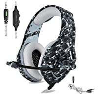 ONIKUMA PS4 Gaming Headset ONIKUMA 3.5mm Stereo Camouflage Gaming Headphones with Noise Canceling Mic For xbox one S PC PS4 Smartphones Laptop Computer (Grey)