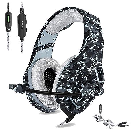 ONIKUMA Auriculares Gaming Cascos de Camuflaje Xbox One PS4 Headset, Diseño de Camuflaje con Mic