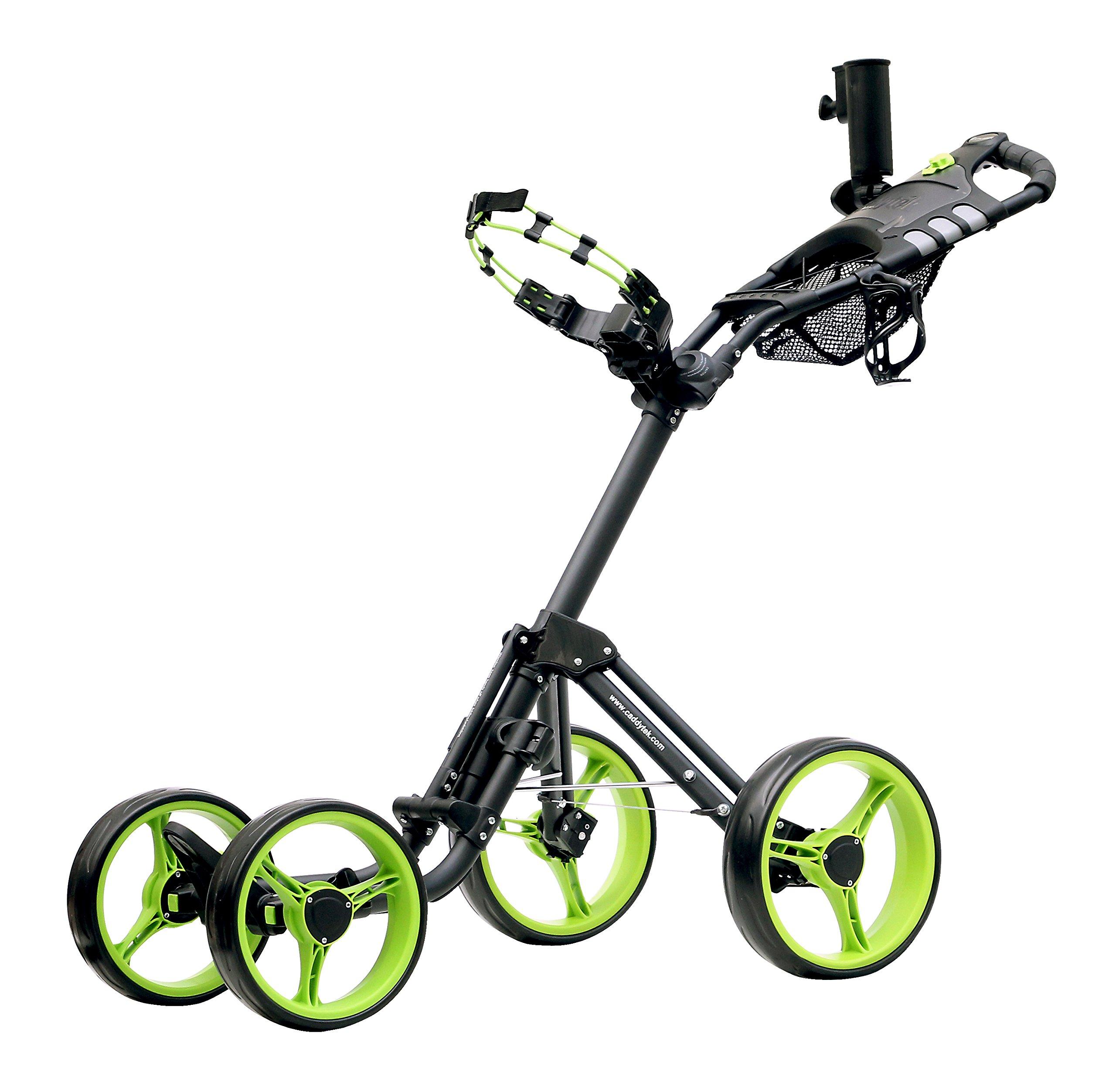 CaddyTek Superlite Explorer 4 Wheel Golf Push Cart, Lime