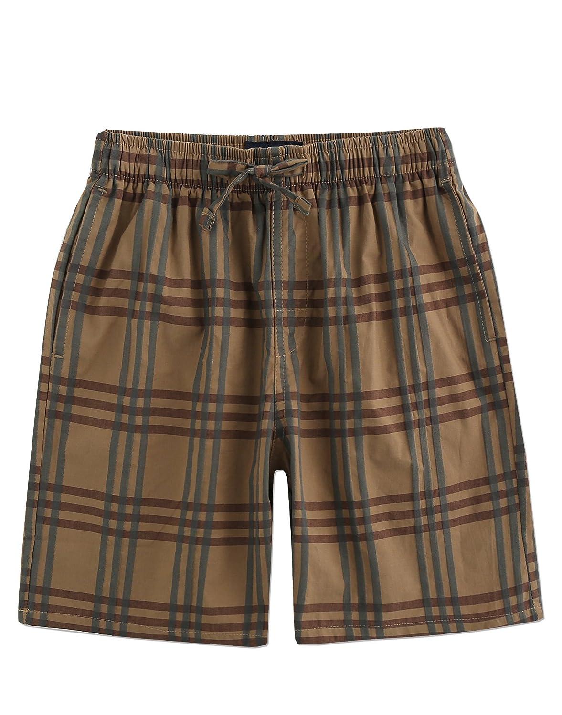 TINFL Men's Plaid Check Soft 100% Cotton Sleep Lounge Pajama Short with Pocket TINFL-MSP