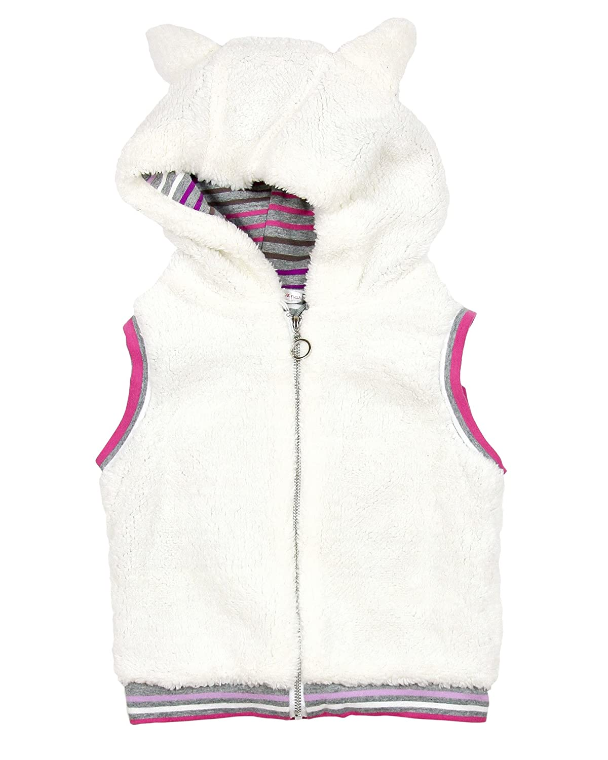 Deux par Deux Girls' Hooded Vest Fluffy Friends, Sizes 18M-6