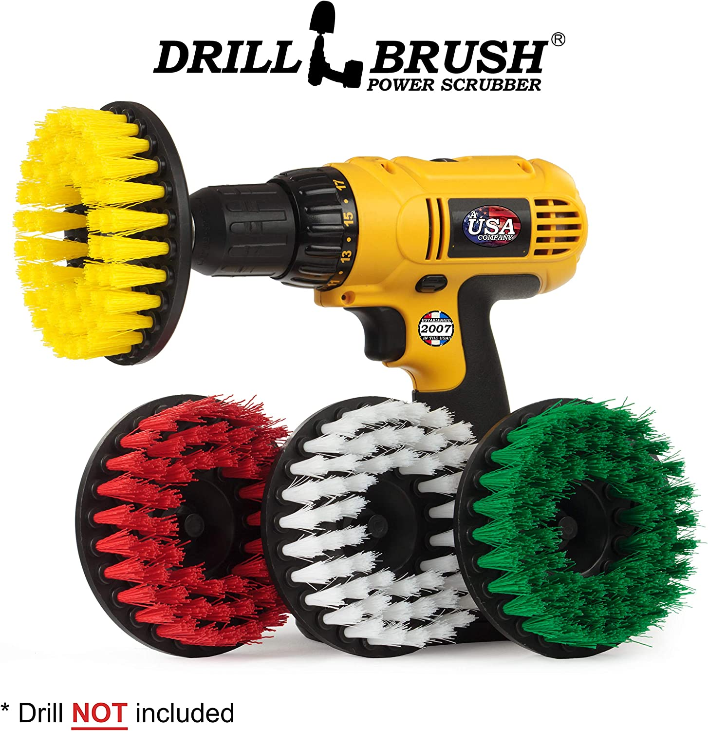 Scrub Brush - Cleaning Supplies - Drill Brush Power Scrubber Multi-Purpose Kit - Leather Cleaner - Spin Brush - Grout Cleaner - Shower Scrubber - Deck Brush - Glass Cleaner - Hard Water, Calcium, Rust