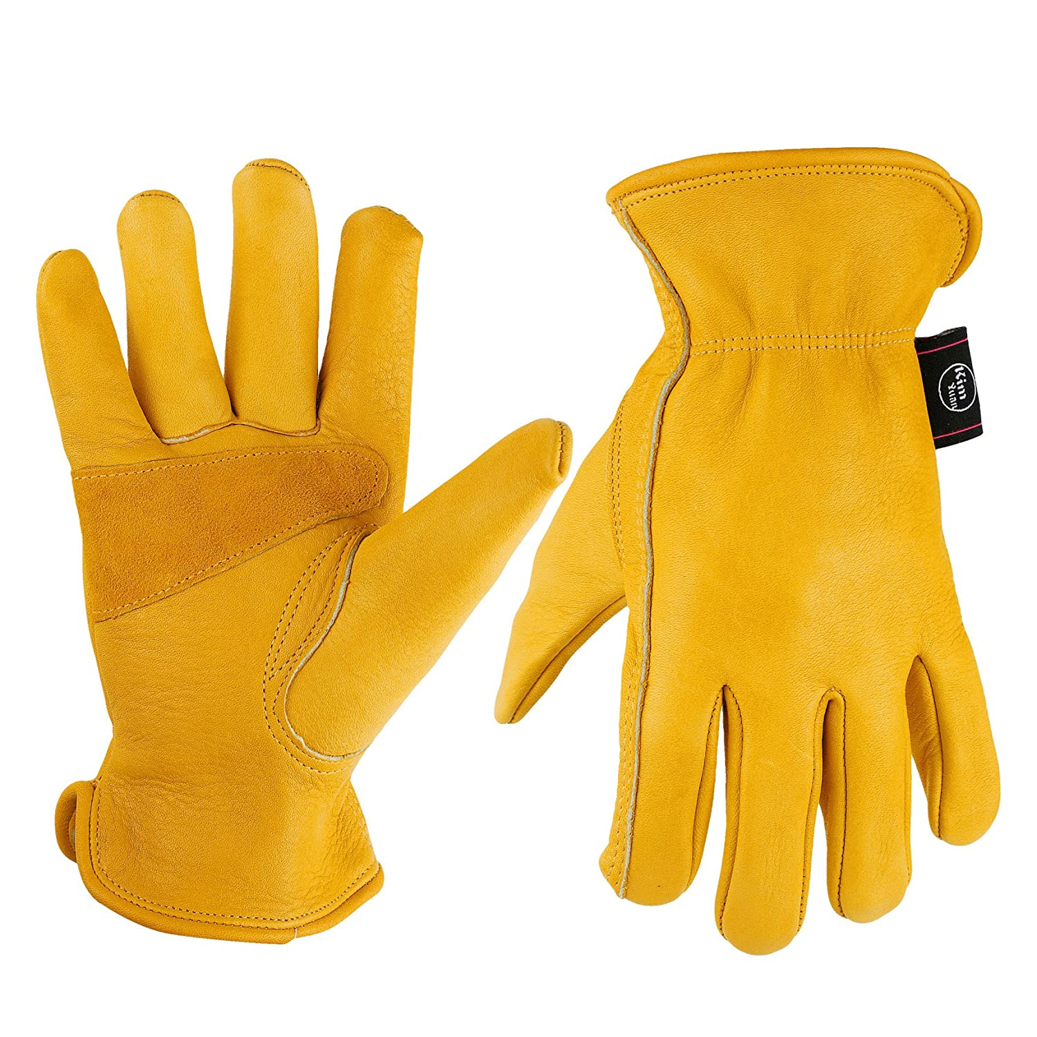 KIM YUAN Leather Work Gloves for Gardening/Cutting/Construction/Motorcycle, Men & Women, Elastic Wrist with Palm, Medium