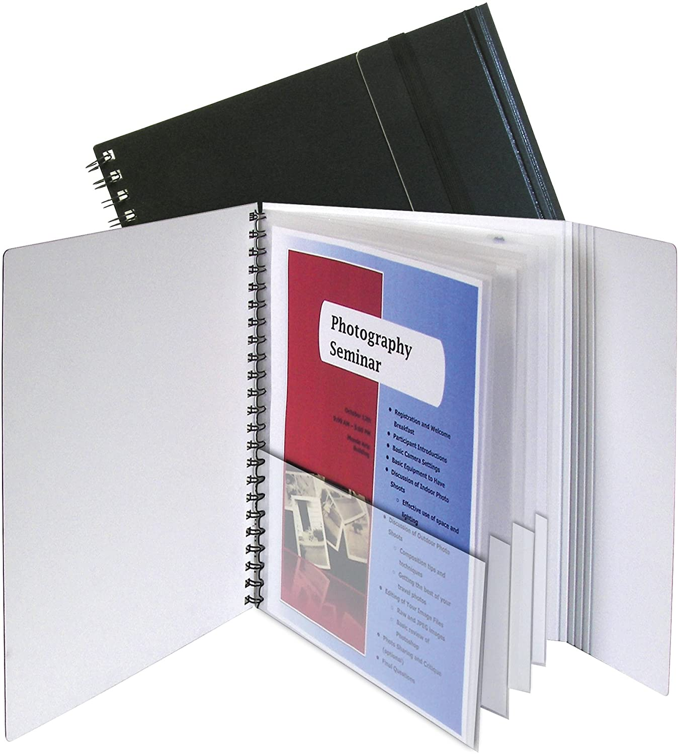 C-Line 8-Pocket Portfolio with Security Flap, Black Cover with White Interior, 11.625 x 10.5 Inches (32881)