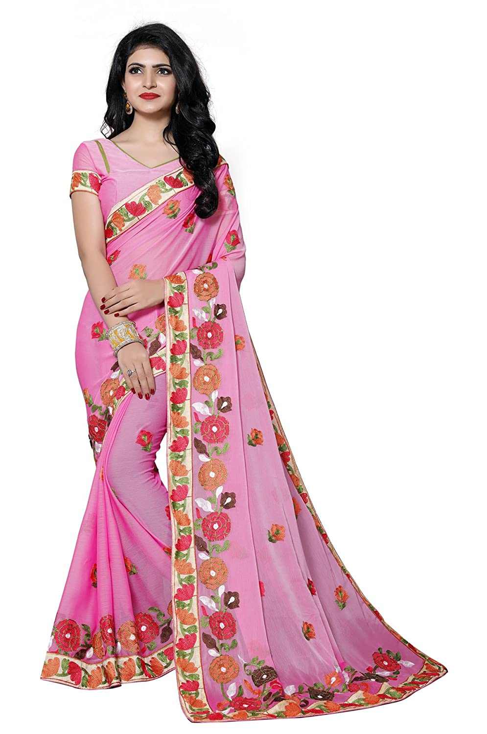 da6d9d2e71f Culture Fab Women Chiffon Latest Designer Embroidery Partywear Fancy Saree  With Blouse Piece (Fb-1052 Pink)  Amazon.in  Clothing   Accessories