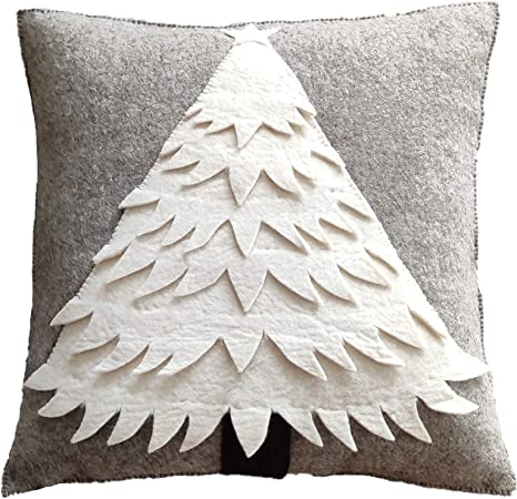 Amazon Com Arcadia Home Hand Felted Wool Christmas Pillow Cream Tree On Gray 20 Decorative Pillow Multi Home Kitchen