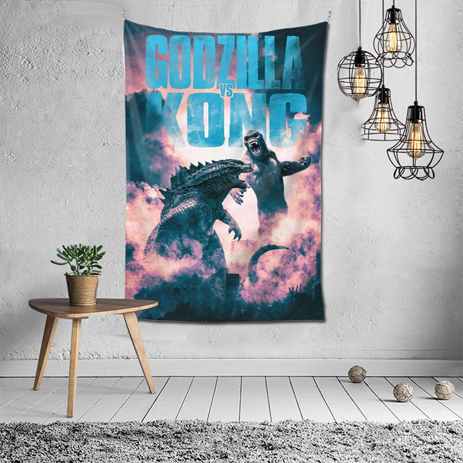 Go-dzilla VS K-ong Tapestry Hanging Wall Banner 3D Printing Wall Hanging Blanket,Movie Monster ThemeRoom decoration,Wall Decoration for Living Room Bedroom Colorful Home Decor 60x40 Inches