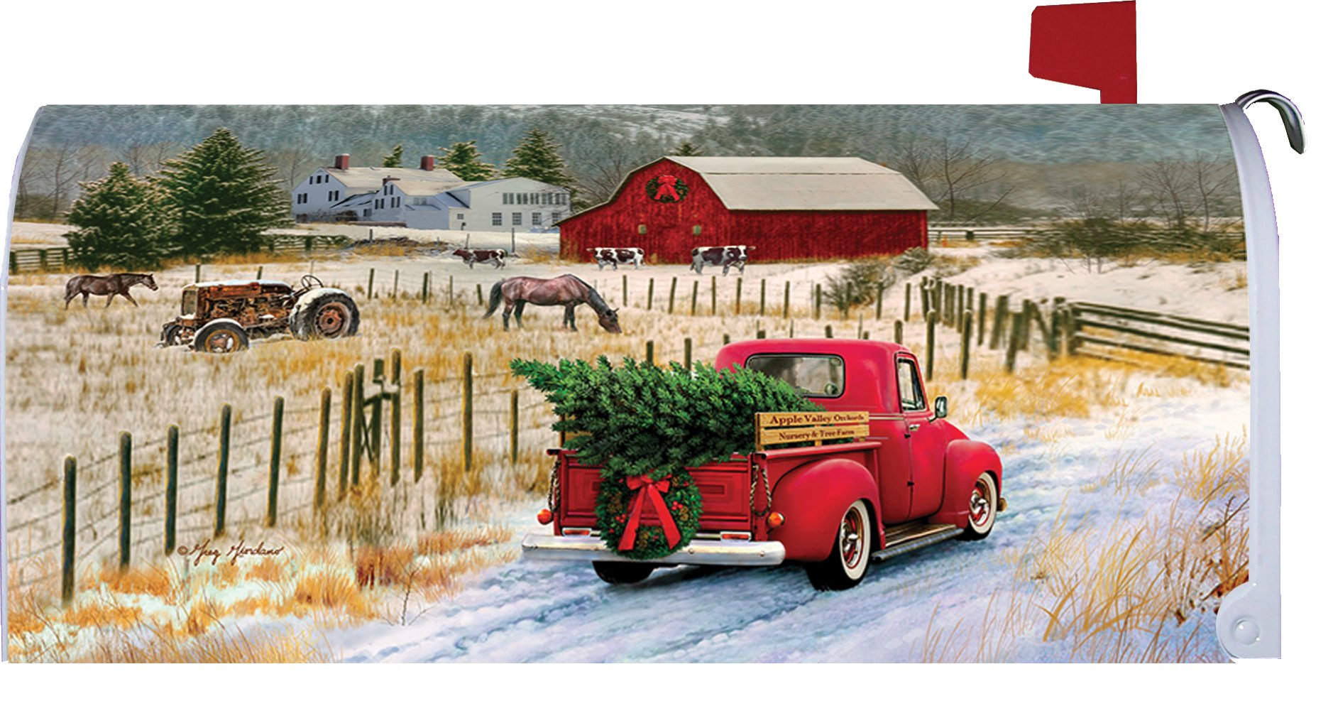 Christmas Truck - Mailbox Makeover - Vinyl with Magnetic Strips - Licensed, Copyrighted and Made in the USA by Custom Decor Inc.