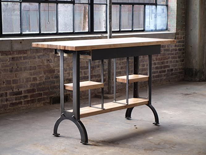 Charmant Maple Modern Industrial Kitchen Island Metal Machine Base
