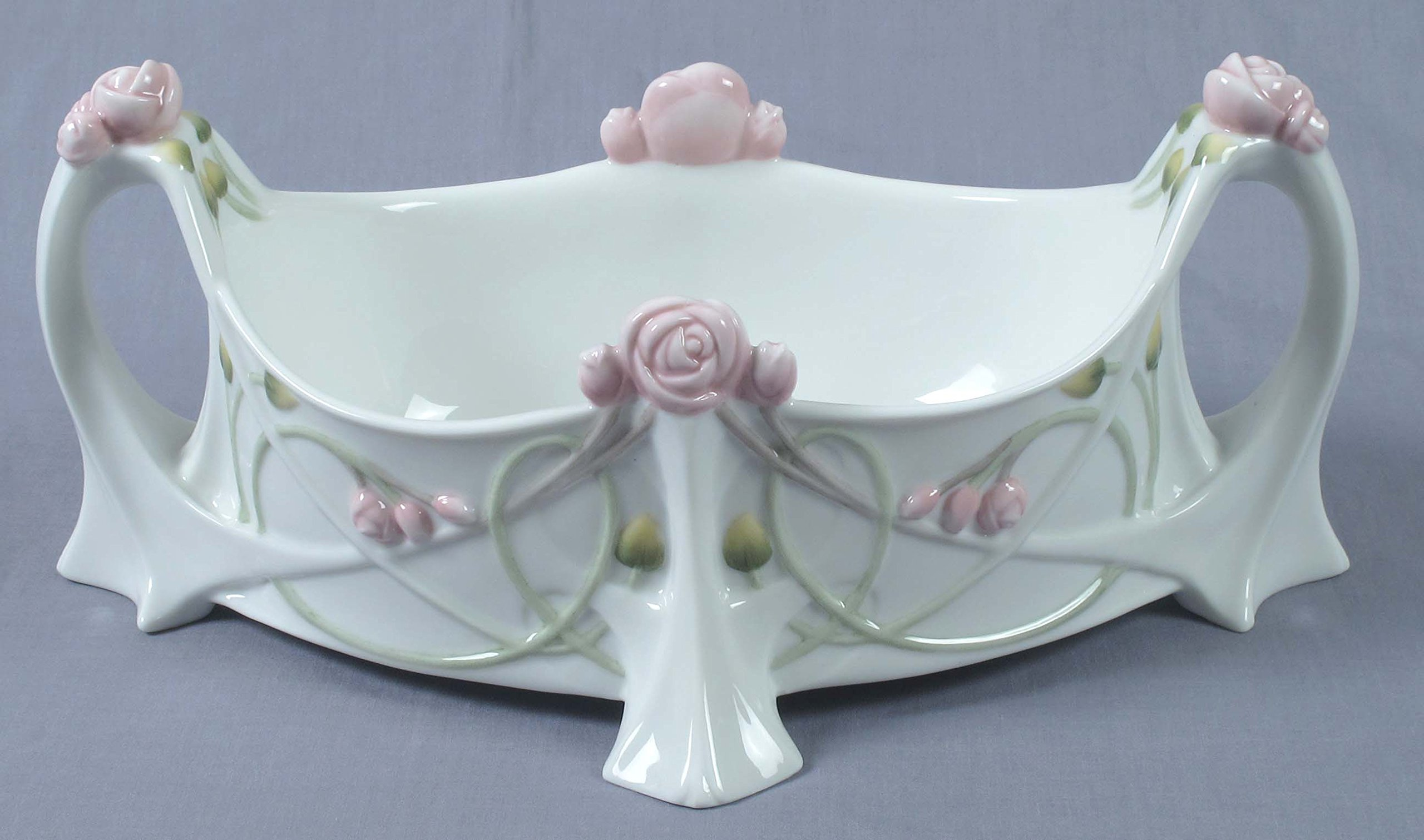 Unicorn Studios AP20315AA White Porcelain Tea Bag Caddy with Roses Stems Leaves by Unicorn Studios