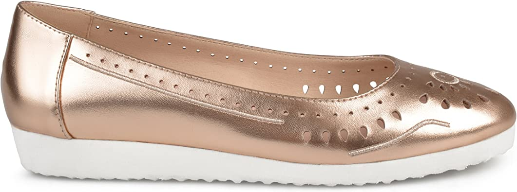 New Simply be Rose Gold Laser Cut Ballerina Flats Choose size