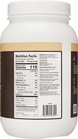 Amazon Elements Grass-Fed 100 Whey Protein Isolate Powder, Natural Vanilla , 2.05 lbs
