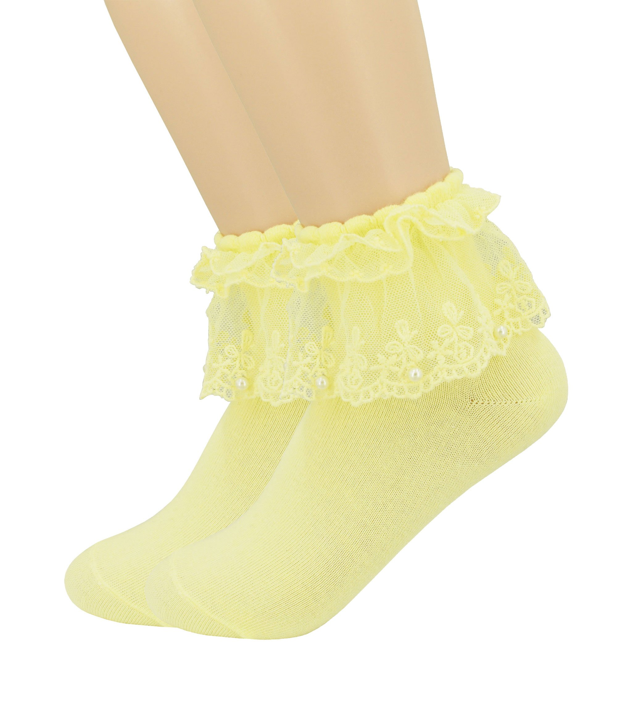 YJLSO Women Lace Ruffle Frilly Cotton Socks Princess Socks Ankle Socks,2 pairs, Style C02 (Yellow)