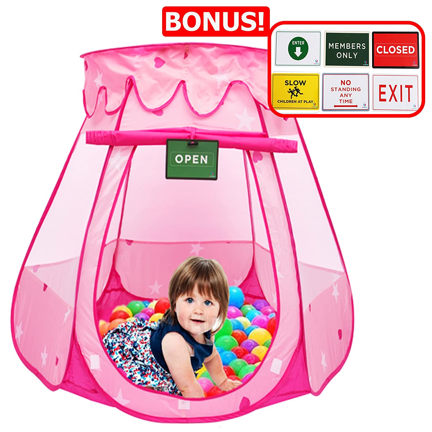 Play Kreative Pink Princess POP UP Tent with Carry Case. Girls Pink Playhouse with Mesh Siding Stars and Red Hearts for Indoor Outdoor Kids Playtime Activities – Lovely Birthday Gift for Her