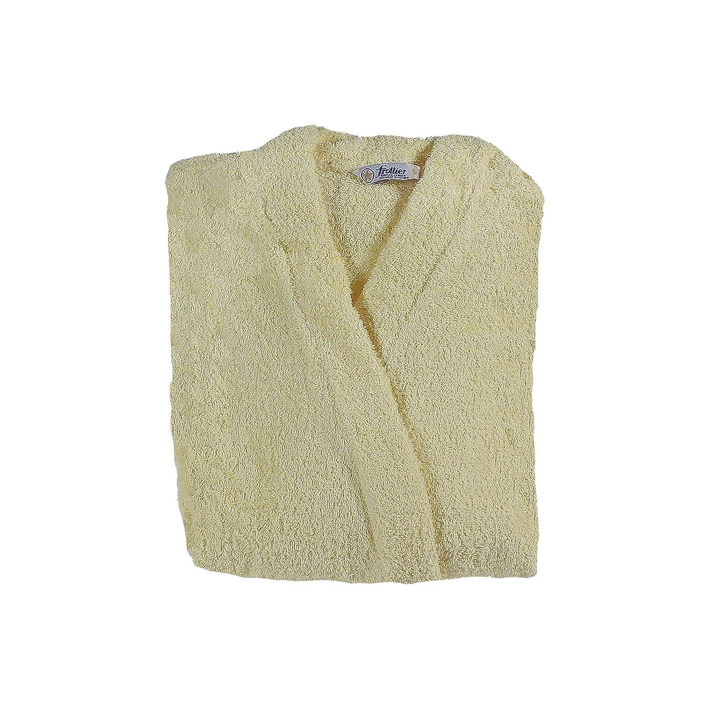 Kimono Bathrobe/Dressing Gown/Sauna unisex bath robe Terry Towelling 100% Cotton, vanille-gelb(49024), XXL