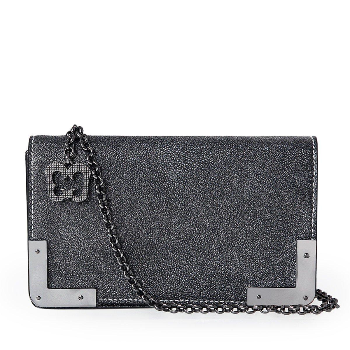 Eric Javits Luxury Fashion Designer Women's Handbag - Cassidy - Gun Glitter