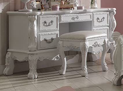 Acme Furniture ACME Dresden Antique White Vanity Desk - Amazon.com: Acme Furniture ACME Dresden Antique White Vanity Desk