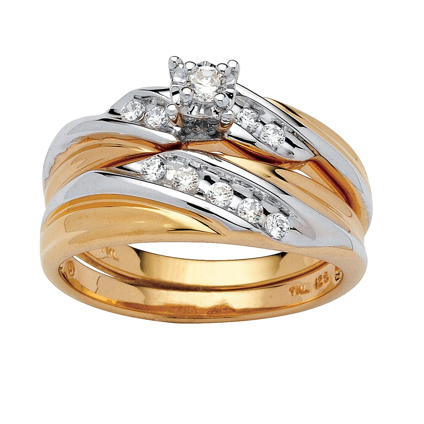 White Cubic Zirconia Two-Tone 18k Gold over .925 Sterling Silver 2-Piece Bridal Ring Set Size 9