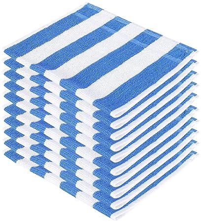 SHAMBHAVI 300 GSM Cotton Hand Towel Set (Blue and White) - 10 Piece