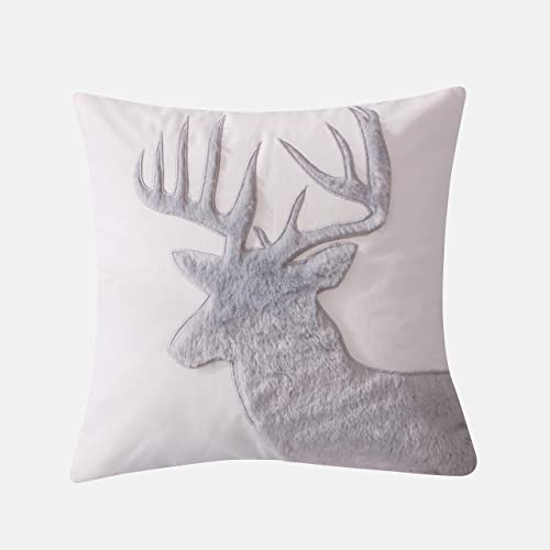 Levtex Home – Camden -Decorative Pillow 18X18in. – Faux Fur Moose – Grey and Cream