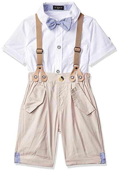 d3d640887639 Si Noir by Hopscotch Boys Cotton Half Sleeves Shirt and Suspender Style  Shorts Sets in White