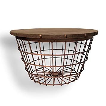The Urban Drum Table Wire Basket Bottom Sustainable Wood And Copper Colored Iron