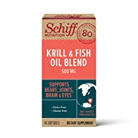 Omega-3 Fish Oil + High Absorption Antarctic Krill Oil Blend 500mg Softgels, Schiff...