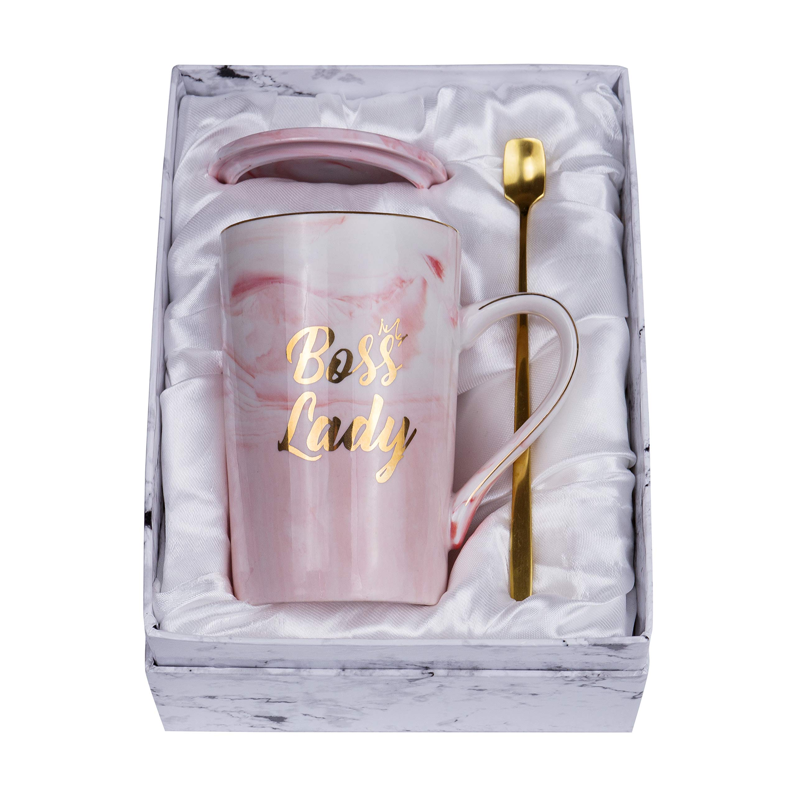 Jumway Boss Lady Mugs - Best Gift for Mom and Female Boss Friend - Boss gifts Birthday Gifts for Women Boss Mom 14oz Marble Ceramic Coffee mug