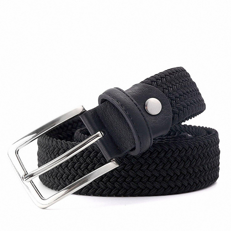 Smakke Men Woven Elastic Black Belt Belt Strap Black Color 1-3//8 35Mm Wide Stretchy Waist Belt