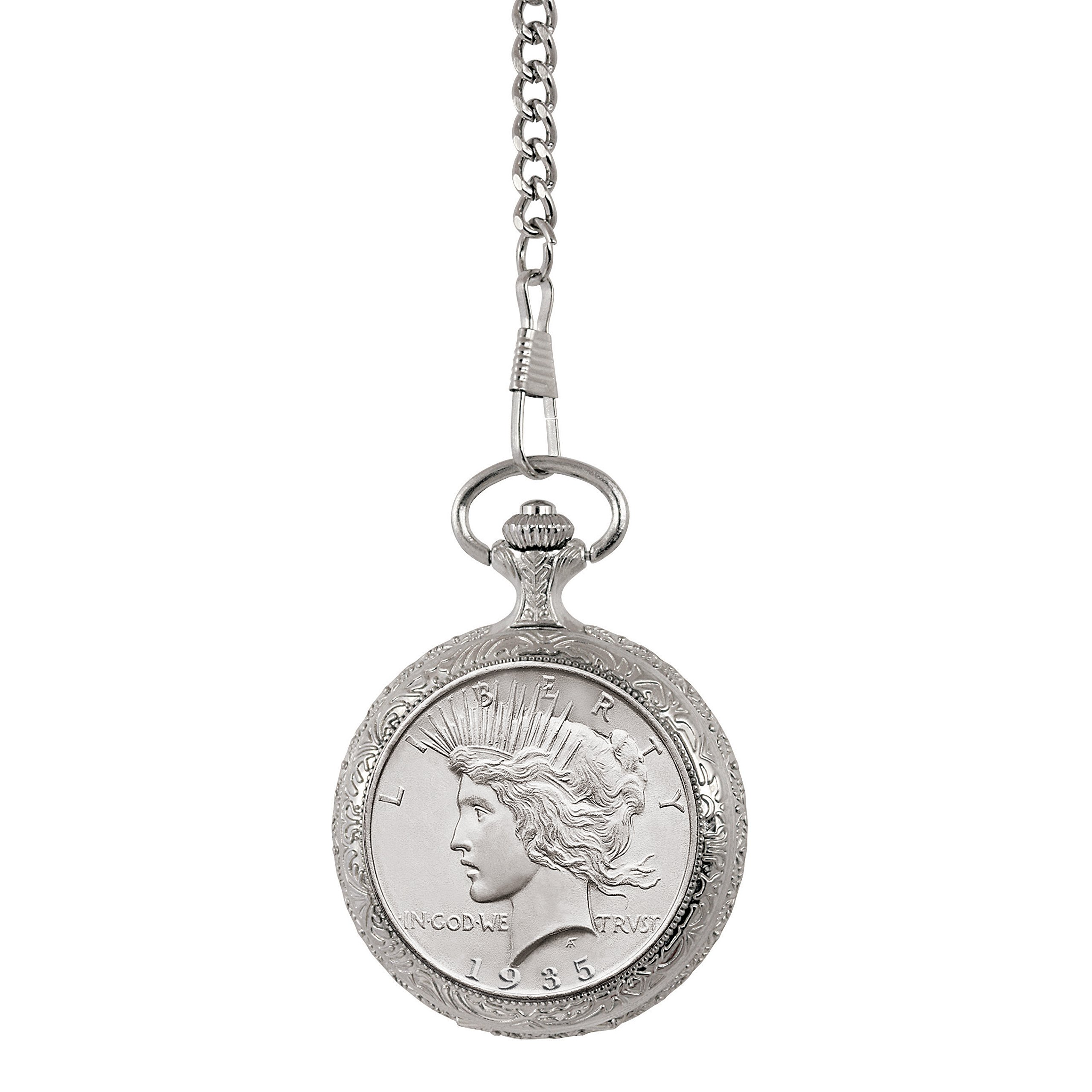 Brilliant Uncirculated Peace Silver Dollar Pocket Watch by American Coin Treasures