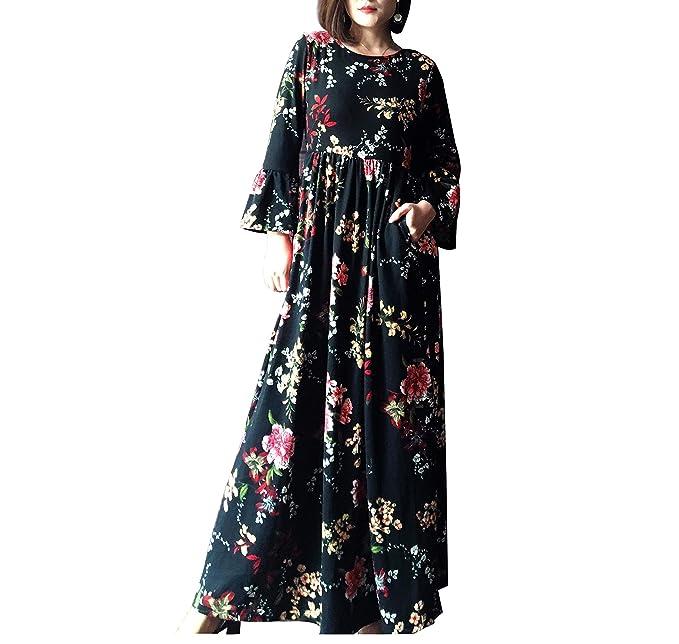Amazon.com  Gessy Womens Crew Neck Long Sleeve Empire Waist Printed Maxi  Dress with Pockets  Clothing a296da229