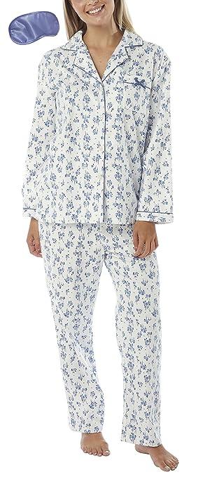 Damen Warm Winter Pyjama Set Gebürstet Gewebte Baumwolle & Augenmaske:  Amazon.de: Bekleidung