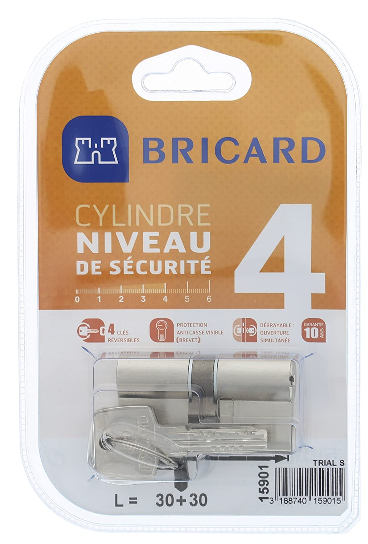 Bricard 15901 Cylindre Trial S 30+30 Nickel/é double entr/ée//niveau de s/écurit/é 4