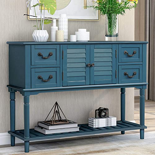 P PURLOVE Console Table for Entryway Buffet Table Sideboard Sofa Table with Shutter Doors and 4 Storage Drawers for Living Room Kitchen Antique Navy