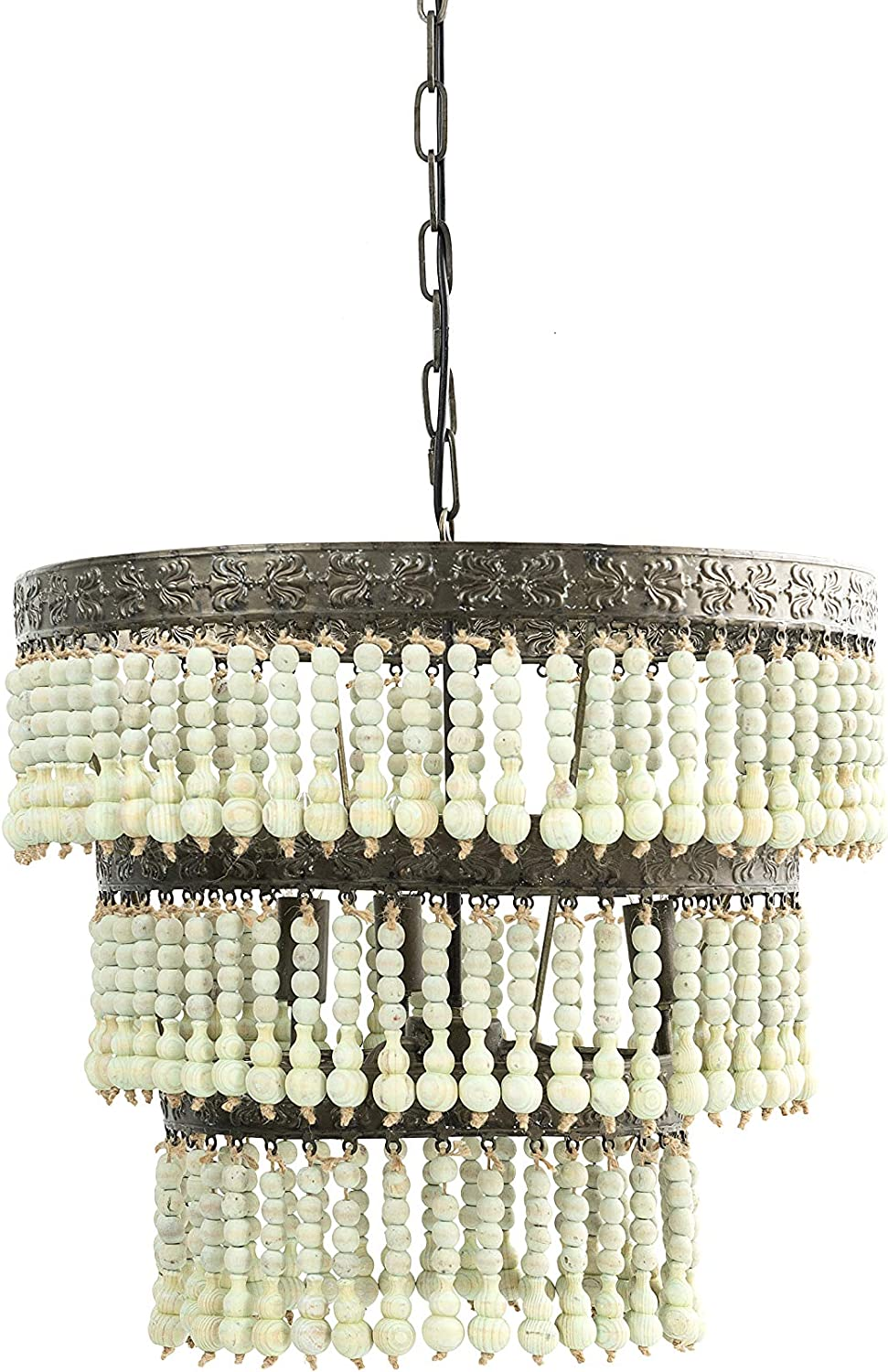 Creative Co-op 3-Tier Round Metal Chandelier with 3 Lights Hanging Wood Beads Ceiling Lights, Lime