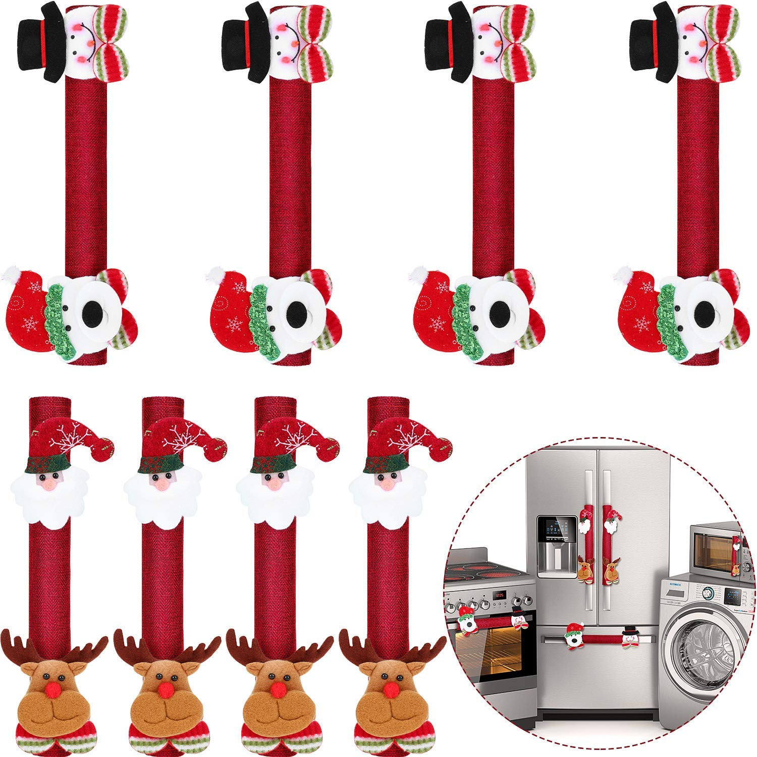 8 Pieces Christmas Kitchen Appliance Covers Set Santa Snowman Refrigerator Door Handle Covers for Christmas Fridge Microwave Dishwasher Handle Decorations